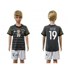 European Cup 2016 Germany away 19 Gotze grey kids soccer jerseys