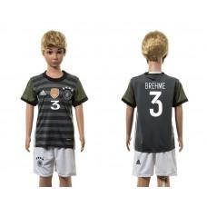 European Cup 2016 Germany away 3 Brehme grey kids soccer jerseys