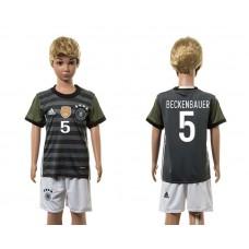 European Cup 2016 Germany away 5 Beckenbauer grey kids soccer jerseys