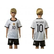 European Cup 2016 Germany home 10 Matthaus white kids soccer jerseys