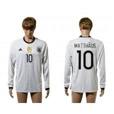 European Cup 2016 Germany home 10 Matthaus white long sleeve AAA+ soccer jerseys
