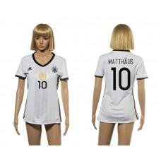 European Cup 2016 Germany home 10 Matthaus white women soccer jerseys
