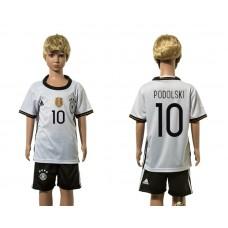 European Cup 2016 Germany home 10 Podolski white kids soccer jerseys