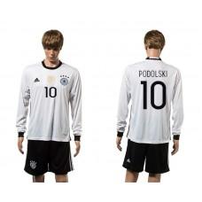 European Cup 2016 Germany home 10 Podolski white long sleeve soccer jerseys