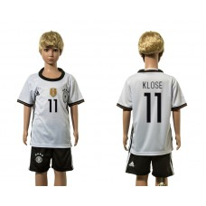 European Cup 2016 Germany home 11 Klose white kids soccer jerseys