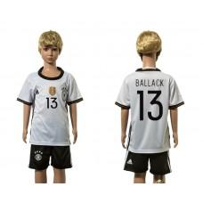 European Cup 2016 Germany home 13 Ballack white kids soccer jerseys