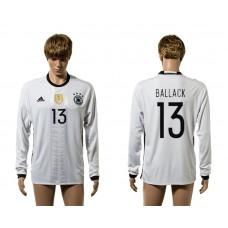 European Cup 2016 Germany home 13 Ballack white long sleeve AAA+ soccer jerseys