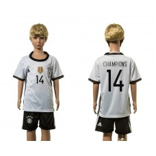 European Cup 2016 Germany home 14 Champions white kids soccer jerseys