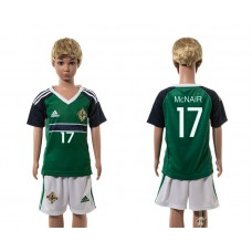European Cup 2016 Northern Ireland home 17 McNair green kids soccer jerseys
