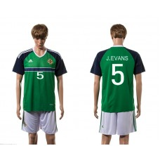 European Cup 2016 Northern Ireland home 5 J.Evans Green soccer jerseys