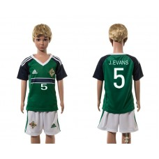European Cup 2016 Northern Ireland home 5 J.Evans green kids soccer jerseys