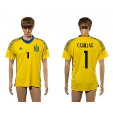 European Cup 2016 Spain 1 Casillas yellow goalkeeper AAA+ soccer jerseys