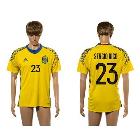 European Cup 2016 Spain 23 Sergio Rico yellow goalkeeper AAA+ soccer jerseys