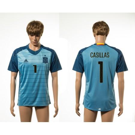 European Cup 2016 Spain away 1 Casillas blue AAA+ soccer jerseys