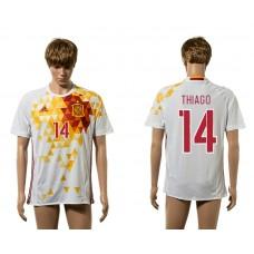 European Cup 2016 Spain away 14 Thiago white AAA+ soccer jerseys
