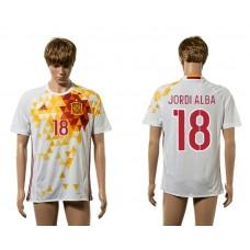 European Cup 2016 Spain away 18 Jordi Alba white AAA+ soccer jerseys