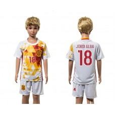 European Cup 2016 Spain away 18 Jordi Alba white kids soccer jerseys