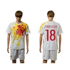 European Cup 2016 Spain away 18 Jordi Alba white soccer jerseys