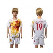 European Cup 2016 Spain away 19 Diego Costa white kids soccer jerseys