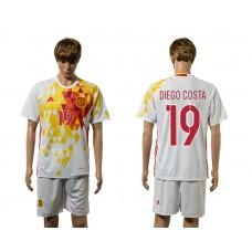European Cup 2016 Spain away 19 Diego Costa white soccer jerseys