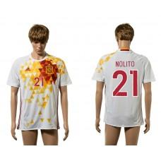 European Cup 2016 Spain away 21 Nolito white AAA+ soccer jerseys