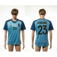 European Cup 2016 Spain away 23 Sergio Rico blue AAA+ soccer jerseys