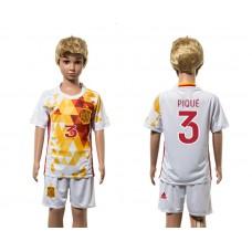 European Cup 2016 Spain away 3 Pique white kids soccer jerseys