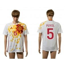 European Cup 2016 Spain away 5 Puyol white AAA+ soccer jerseys