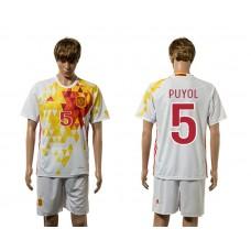 European Cup 2016 Spain away 5 Puyol white soccer jerseys