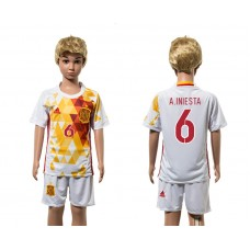European Cup 2016 Spain away 6 A.Iniesta white kids soccer jerseys
