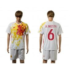 European Cup 2016 Spain away 6 A.Iniesta white soccer jerseys
