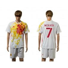 European Cup 2016 Spain away 7 Morata white soccer jerseys