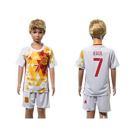 European Cup 2016 Spain away 7 Rauk white kids soccer jerseys
