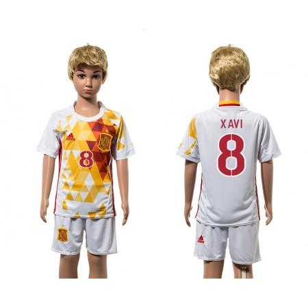 European Cup 2016 Spain away 8 Xavi white kids soccer jerseys