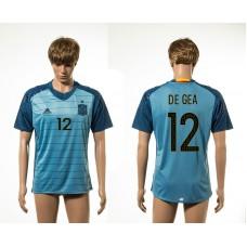 European Cup 2016 Spain away De Gea blue AAA+ soccer jerseys