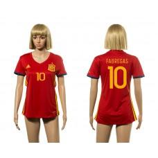 European Cup 2016 Spain home  10 Fabregas red Women soccer jerseys