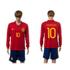 European Cup 2016 Spain home 10 Fabregas red long sleeve soccer jerseys