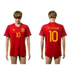 European Cup 2016 Spain home 10 customized red  AAA+ soccer jerseys