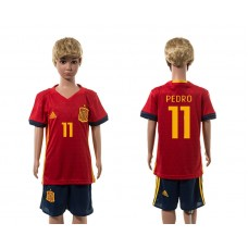 European Cup 2016 Spain home 11 Pedro red  kids soccer jerseys