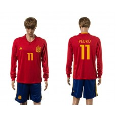 European Cup 2016 Spain home 11 Pedro red long sleeve soccer jerseys