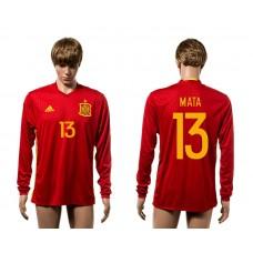 European Cup 2016 Spain home 13 Mata red long sleeve AAA+ soccer jerseys