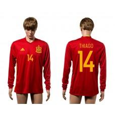 European Cup 2016 Spain home 14 Thiago red long sleeve AAA+ soccer jerseys