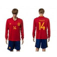 European Cup 2016 Spain home 14 Thiago red long sleeve soccer jerseys