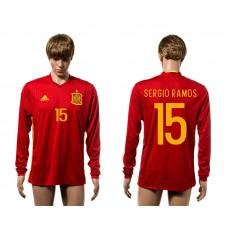 European Cup 2016 Spain home 15 Sergio Ramos red  long sleeve AAA+ soccer jerseys