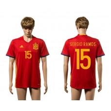 European Cup 2016 Spain home 15 Sergio Ramos red AAA+ soccer jerseys