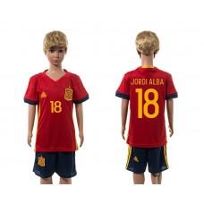 European Cup 2016 Spain home 18 Jordi Alba red kids soccer jerseys