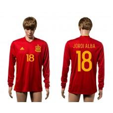 European Cup 2016 Spain home 18 Jordi Alba red long sleeve AAA+ soccer jerseys
