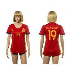 European Cup 2016 Spain home 19 Diego Costa red Women soccer jerseys
