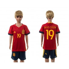 European Cup 2016 Spain home 19 Diego Costa red kids soccer jerseys