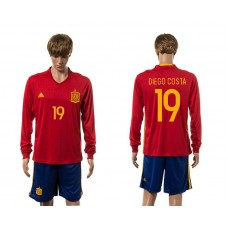 European Cup 2016 Spain home 19 Diego Costa red long sleeve soccer jerseys
